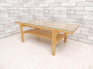 ウニコ unico レイン LIJN ガラストップ×エルムウッド ニレ材 ローテーブル ナチュラル ●