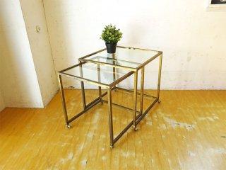 ヨーロッパ ビンテージ スチール×ガラス 2ピース ネストテーブル ミッドセンチュリーデザイン キャスター付 スペイン製 ★