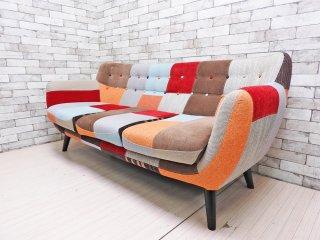 フランフラン Francfranc ナビア NAVIA パッチワーク 3Pソファ レッド × オレンジ 定価¥139,320- ●