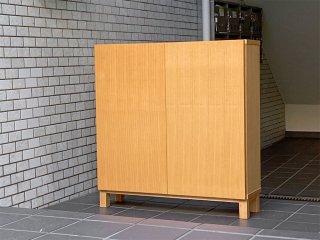 無印良品 MUJI 組み合わせて使える木製収納 ロータイプ 木製扉付き タモ材 奥行21cm ナチュラル ■