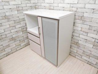 シンプルデザイン キッチンボード レンジボード ホワイト 抽斗2杯 メラミントップ W90 ●