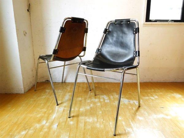 シャルロット・ペリアン Charlotte Perriand レザルクチェア Les Arcs Chair ダイニングチェア スタッキング ブラックレザー ★