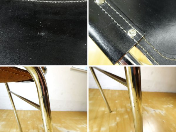 シャルロット・ペリアン Charlotte Perriand レザルクチェア Les Arcs Chair ダイニングチェア スタッキング ブラックレザー � ★