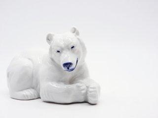 ロイヤルコペンハーゲン ROYAL COPENHAGEN 陶製オブジェ シロクマ 白熊 フィギュリン 置物 デンマーク 北欧雑貨 ●