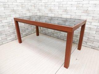 クラスティーナ Crastina ノワルナ Novaluna ブラックガラス × ウォールナット材 ダイニングテーブル W160cm モダンデザイン ●