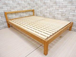 無印良品 MUJI タモ無垢材 ダブルサイズ W145cm ベッドフレーム ナチュラルスタイル シンプル ●