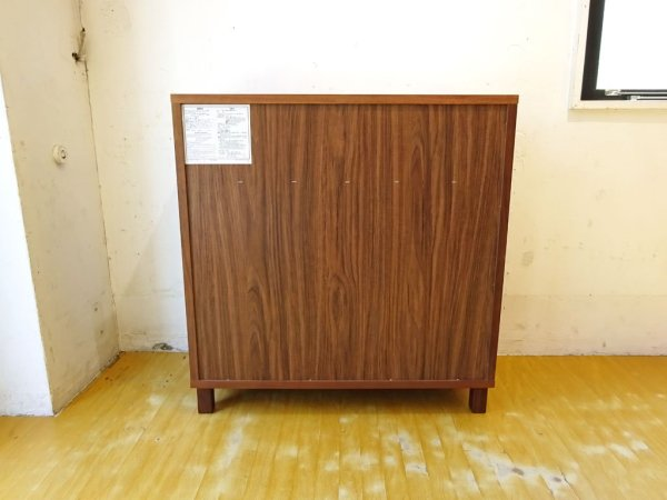 無印良品 MUJI 木製キャビネット w80cm ウォールナット材 ブラウン 木製扉 シンプルデザイン ★