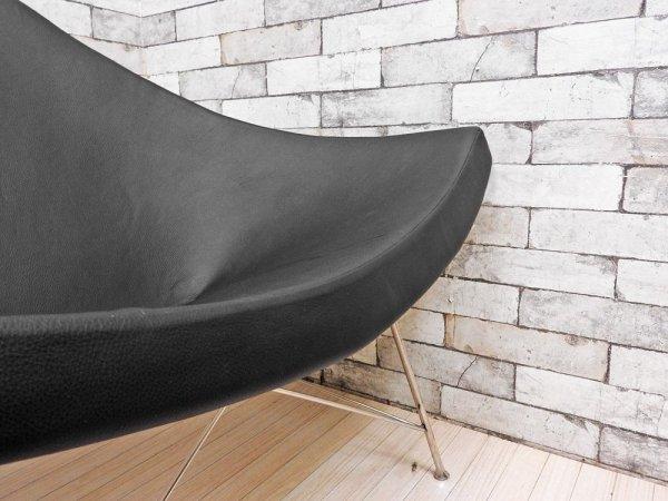ジョージ・ネルソン Geoge Nelson ココナッツチェア Coconut Chair ブラック プロテインレザー × スチール ミッドセンチュリーデザイン リプロダクト品 ●