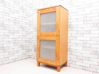 ナチュラル モダン スタイル キャビネット 2段 アルダー材 スモークガラス扉 飾り棚  ●