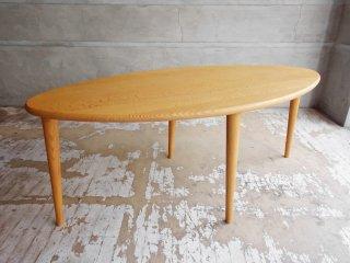 シラカワ家具 Shirakawa リビングテーブル センターテーブル オーク無垢材 W125cm サイズ特注品 リーフ型 飛騨高山 美品 ♪