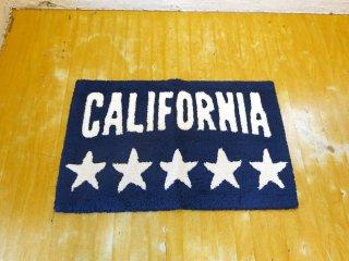 カリフォルニア California ファイブスター ネイビーベース ホワイトロゴ 73×45cm キッチンマット 玄関マット クリーニング済 ★