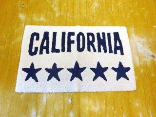 カリフォルニア California ファイブスター ベージュベース ネイビーロゴ 73×45cm キッチンマット 玄関マット クリーニング済 ★