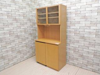 無印良品 MUJI タモ材 キッチンボード 中央オープンタイプ ワゴンタイプ収納付 食器棚 レンジボード 廃番 ●