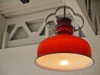 ホルムガード HOLMEGAARD ビンテージ ガラス ペンダントライト ステンレスアーム 赤褐色 照明 北欧 デンマーク HIKE取扱 ◇