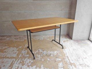 ウニコ unico ファニート FUNEAT リビングダイニングテーブル W120cm オーク材天板×スチールレッグ デスク スクール ビンテージスタイル ♪