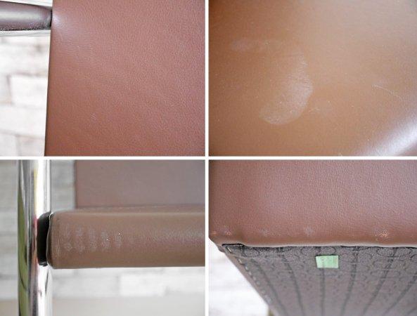 ノル knoll ブルーノ アームチェア チューブラー Brno Arm Chair Tubular ミースファンデルローエ 革張り カンチレバー 定価:約24万円 ●