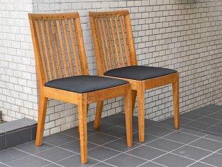 朝日木材加工 ボスコ BOSCO ダイニングチェア 2脚セット ニヤトー無垢材 クラフト家具 A ■