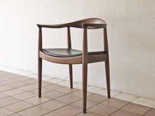 ハンス・J・ウェグナー 名作 ザ・チェア The Chair リプロダクト アッシュ材 PVCレザーシート ブラウン ◇