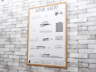 アルヴァ・アアルト Alvar Aalto アアルトデザイン 建築物 ポスター フィンランド 1995年印刷 入手困難 新品額装品 アート 芸術 ●