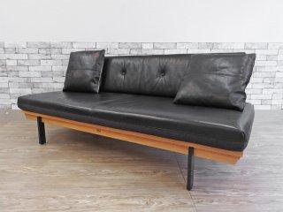カーフ karf ホルツ ソファ Holz sofa スタイルA クッション2個付き 3Pソファ 本革 × ファブリック オーク材 定価約:465,000- ●