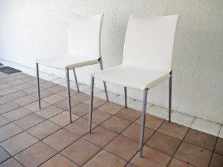 ザノッタ Zanotta リアチェア Lia Chair ダイニングチェア 2脚セット 布張り ホワイト ロベルト・バルビエリ イタリア ◇