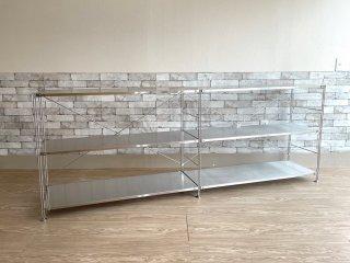 無印良品 MUJI ステンレスユニットシェルフ 2段2列 オープンシェルフ 収納家具 ●