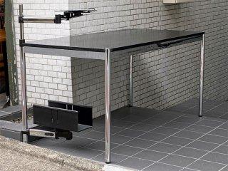 USMハラー USM Haller モジュラーファニチャー Modular Furniture ハラーテーブル W150cm CPUホルダー スイングアーム 高さ調整リング付き ブラックウッド天板 ■