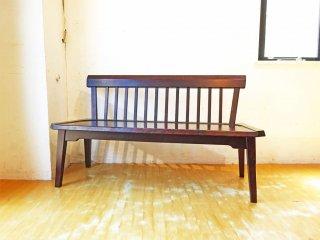 北海道民芸 2掛け ダイニング ベンチチェア 長椅子 和モダン 樺材 バックレスト 幅125cm ★