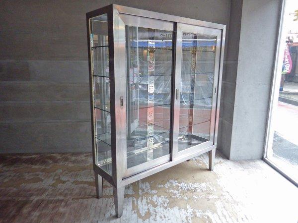 インダストリアル 医療用 ステンレス製 ケビント ドクターキャビネット ガラス棚 4面 飾り棚 W150cm 大型 店舗什器 ♪