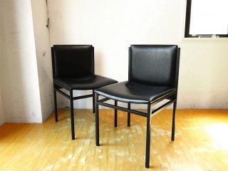 アダル ADAL イタリアンモダンデザイン チェア 2脚セット PVC × ブラックスチールフレーム シンプル ★