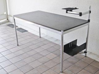 USMハラー USM Haller モジュラーファニチャー Modular Furniture ハラーテーブル W150cm CPUホルダー スイングアーム 高さ調整リング付き ブラックウッド天板 ◇