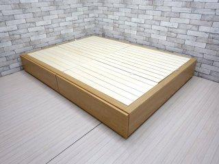無印良品 MUJI 収納ベッド オーク材 ダブル 抽斗×2杯 簀の子床 W1485 参考価格44,000円の品 ナチュラル シンプル ●