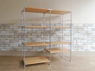 無印良品 MUJI ステンレスユニットシェルフ オーク材 棚板 2列4段 オープンシェルフ 総額 37,840円 ●