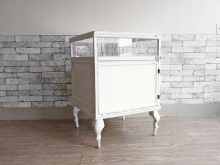 ヨーロピアンアンティークスタイル European Antique Style ガラスショーケース ディスプレイケース ホワイトペイント 猫脚 H88cm 店舗什器 シャビーシック ●
