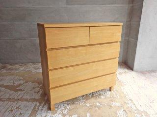 無印良品 MUJI 木製チェスト 4段 タモ材突板 フルオープン シンプルモダンデザイン ナチュラル 廃盤品 B ♪
