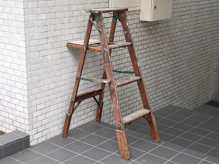 ビンテージ ウッドラダー 木製 梯子 ディスプレイラック ハンガーラック 古材 店舗什器 ■