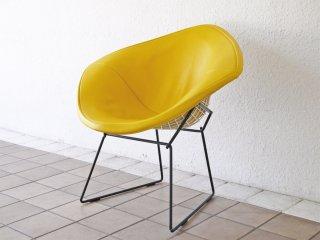 ノル Knoll ビンテージ ダイヤモンドチェア Diamond Chair フルカバーリング PVCレザー イエロー ハリー ベルトイア Harry Bertoia ミッドセンチュリー 名作 ◇
