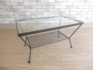 ウニコ unico エディ EDDY アイアン×ガラス ローテーブル コーヒーテーブル Sサイズ 収納棚付 ●