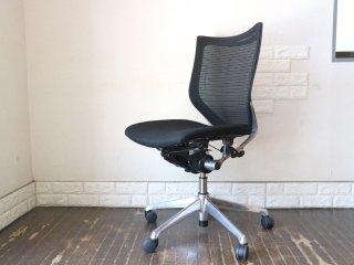 オカムラ okamura バロンチェア Baron Chair オフィスチェア デスクチェア メッシュ背もたれ×ウレタン座面 アームレス ブラック ジョルジェット・ジウジアーロ ◎