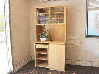 無印良品 MUJI タモ材 キッチンボード 中央オープンタイプ ワゴンタイプ収納付 食器棚 カップボード 廃番 ◎