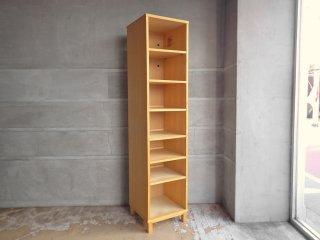 無印良品 MUJI タモ材 組み合わせて使える木製収納 ミドルタイプ スリム 本棚 ブックシェルフ 廃番 参考価格34,000円 ♪