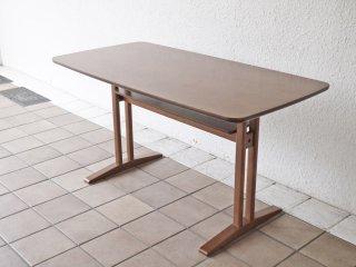 カリモク60+ karimoku60+ カフェテーブル1200 ウォールナットブラウン 幅118cm 棚板付き ミッドセンチュリーモダン 美品 ◇