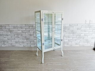 ダルトン DULTON ドクターキャビネット Doctor cabinet S ケビント キュリオケース ディスプレイラック 飾り棚  ガラス スチール アイボリー 定価\77,000- ●