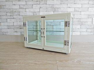 ダルトン DULTON コレクションキャビネット Collection cabinet キュリオケース ディスプレイラック 飾り棚  ガラス スチール アイボリー 廃番 ●