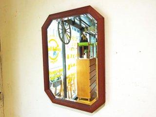 ビンテージ Vintage チーク無垢材 ウォールミラー 鏡 八角形 壁掛け 北欧デザイン ★