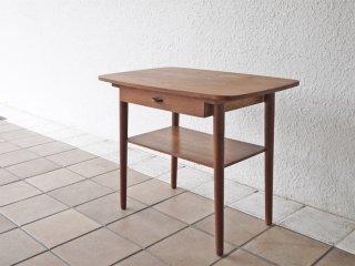 北欧ビンテージ Scandinavian Vintage チーク材 サイドテーブル ナイトテーブル 1ドロワー 北欧家具 ◇