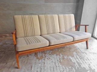北欧 ビンテージ Scandinavian vintage 3P Sofa 3人掛け ソファ オーク材 木製フレーム ストライプファブリック ミッドセンチュリー 北欧家具 ♪