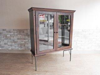 インプションリメイク imption remake キャビネット カップボード 食器棚 飾り棚 本棚 古材 アイアン アンティークスタイル 工業系 ●