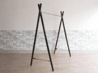 プエブコ PUEBCO ガーメントラック ハンガーラック 折り畳み式 ミリタリー アウトドア インダストリアル W168cm ●