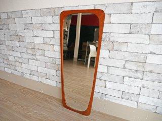 北欧ビンテージ Scandinavian Vintage チーク材フレーム ウォールミラー 壁掛け 鏡 ●